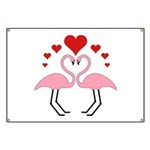 Flamingo Hearts Banner