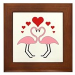 Flamingo Hearts Framed Tile
