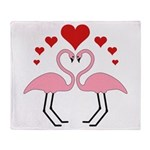 Flamingo Hearts Throw Blanket