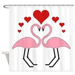 Flamingo Hearts Shower Curtain