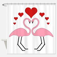 Flamingo Hearts Shower Curtain