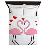 Flamingo Hearts Queen Duvet