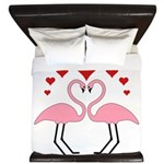 Flamingo Hearts King Duvet