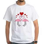 Flamingo Hearts White T-Shirt