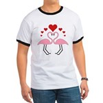 Flamingo Hearts Ringer T