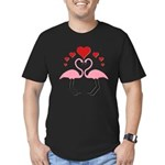 Flamingo Hearts Men's Fitted T-Shirt (dark)