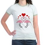 Flamingo Hearts Jr. Ringer T-Shirt