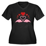 Flamingo Hearts Women's Plus Size V-Neck Dark T-Sh