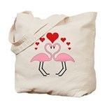 Flamingo Hearts Tote Bag