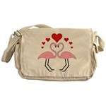 Flamingo Hearts Messenger Bag