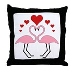 Flamingo Hearts Throw Pillow