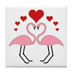 Flamingo Hearts Tile Coaster