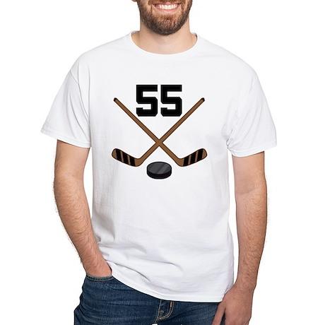 Hockey Player Number 55 White T-Shirt