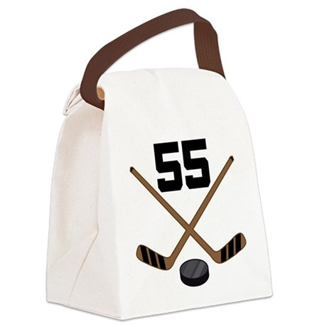 Hockey Player Number 55 Canvas Lunch Bag