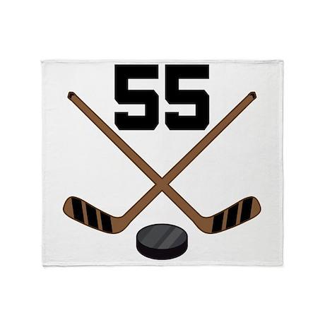 Hockey Player Number 55 Throw Blanket