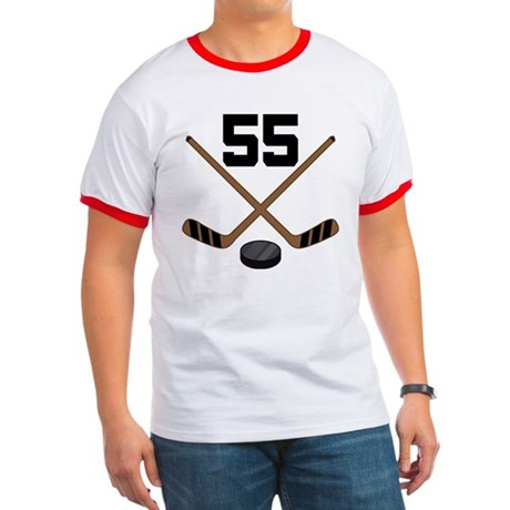 Hockey Player Number 55 Ringer T