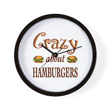 Crazy About Hamburgers Wall Clock
