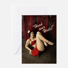 Pin Up Girl Head Over Heels Greeting Card