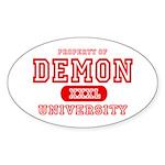 Demon University Halloween Oval Sticker