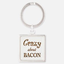Crazy About Bacon Square Keychain