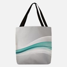 Teal Wave Abstract Polyester Tote Bag