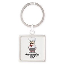 Personalized French Chef Square Keychain