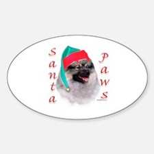 Santa Paws Keeshond Oval Decal