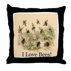 I Love Bees! Throw Pillow