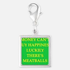 meatballs Silver Square Charm