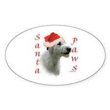 Santa Paws Irish Wolfhound Oval Decal