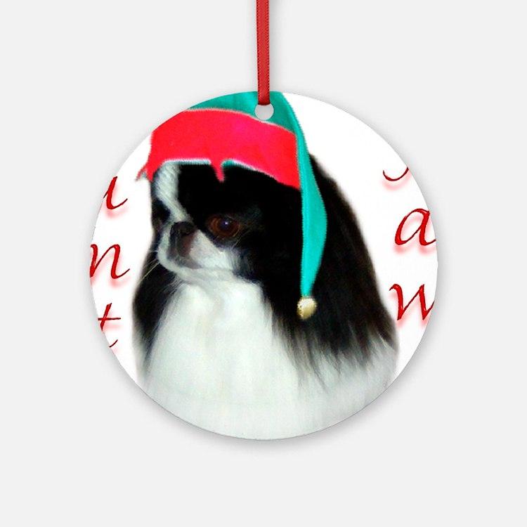 Santa Paws Japanese Chin Ornament (Round)