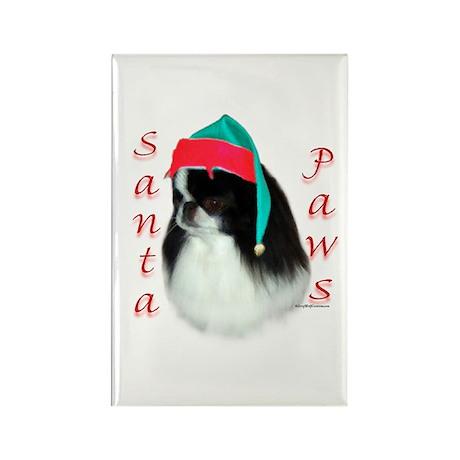 Santa Paws Japanese Chin Rectangle Magnet