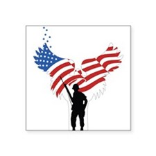 "Soldiers Angel Flag Square Sticker 3"" x 3"""