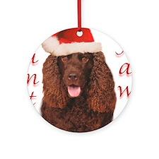 Santa Paws Irish Water Spaniel Ornament (Round)