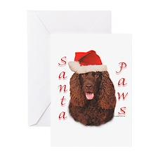 Santa Paws Irish Water Spaniel Greeting Cards (Pac