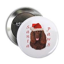 Santa Paws Irish Water Spaniel Button