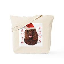 Santa Paws Irish Water Spaniel Tote Bag