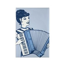 Retro Accordion Lady Rectangle Magnet