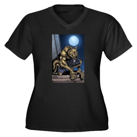 Werewolf Women's Plus Size V-Neck Dark T-Shirt