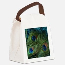 Green Peacock Feathers Canvas Lunch Bag