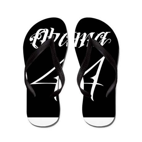 e93443f1cac99 Tattoo white Obama 44.png Flip Flops by eric allen