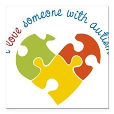"Someone With Autism Square Car Magnet 3"" x 3"""