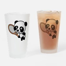 Panda Tennis Player Drinking Glass