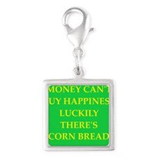 CORN bread Silver Square Charm