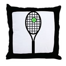 Tennis Racket With Ball Throw Pillow