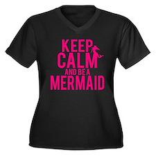 BE A MERMAID Women's Plus Size V-Neck Dark T-Shirt