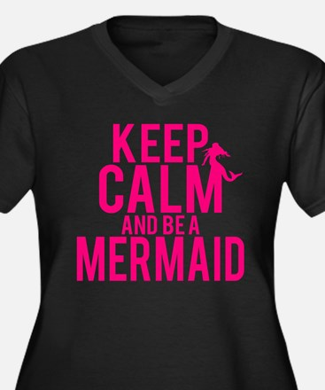 BE A MERMAID Women's Plus Size V-Neck Dark T-Shirt