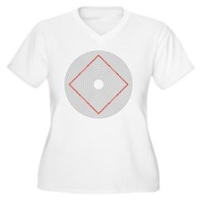 Ehrenstein illusion, square in circles - T-Shirt