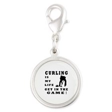 Curling Is My Life Silver Round Charm