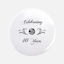 """40th Anniversary (b&w) 3.5"""" Button"""